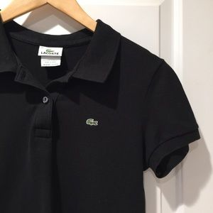 LACOSTE Worn Once Black Polo Golf Shirt Small 42